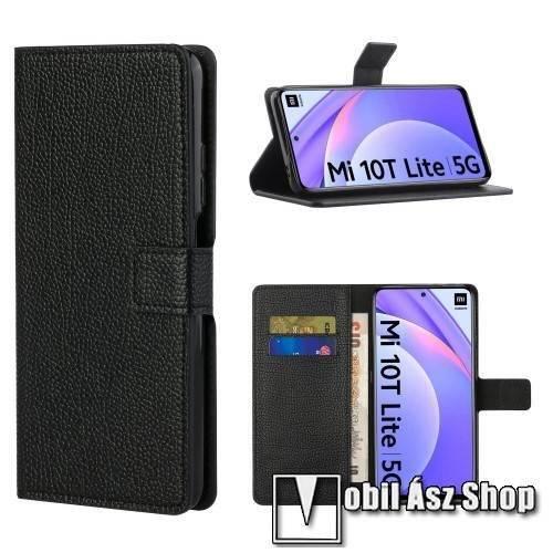 WALLET notesz tok / flip tok - FEKETE - asztali tartó funkciós, oldalra nyíló, rejtett mágneses záródás, bankkártyatartó zseb, szilikon belső - Xiaomi Mi 10T Lite 5G / Redmi Note 9 Pro 5G / Mi 10i 5G