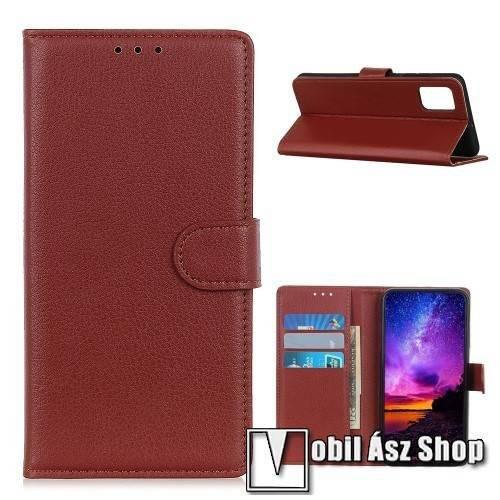 WALLET notesz tok / flip tok - BARNA - asztali tartó funkciós, oldalra nyíló, rejtett mágneses záródás, bankkártyatartó zseb, szilikon belső - Xiaomi Poco M3
