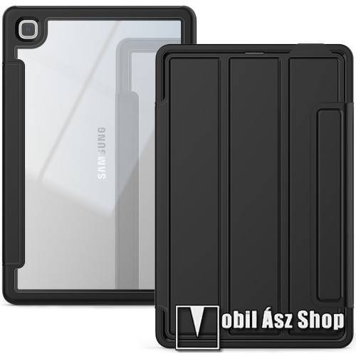 Notesz / mappa tok - 360°-os védelem, kijelzővédő is, asztali tartó funkciós, két rétegű, oldalra nyíló, rejtett mágneses záródás, szilikon belső - ERŐS VÉDELEM! - FEKETE / ÁTLÁTSZÓ - SAMSUNG Galaxy Tab A7 10.4 (2020) (SM-T500/SM-T505)