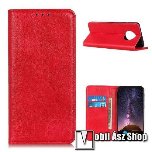 Notesz tok / flip tok - PIROS - hasított bőr, asztali tartó funkciós, oldalra nyíló, rejtett mágneses záródás, bankkártya tartó zseb, szilikon belső - Xiaomi Redmi Note 9T 5G / Redmi Note 9 5G