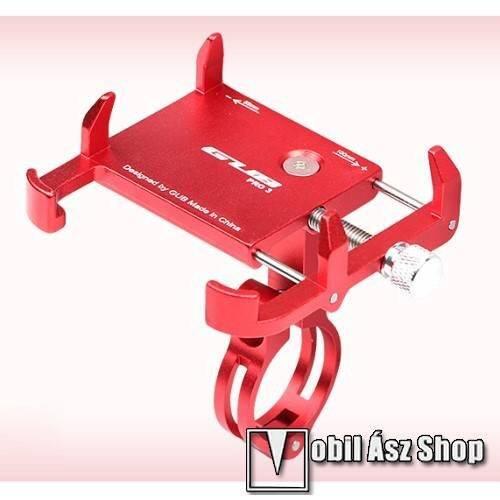 GUB PRO3 UNIVERZÁLIS biciklis / kerékpáros tartó konzol mobiltelefon készülékekhez - PIROS - alumínium, elforgatható, 22,2-31,8 mm átmérőjű kormányra alkalmas, 55-100mm-ig állítható bölcső - 3,5-6,2-os készülékekhez