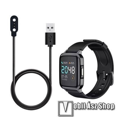 Okosóra USB töltő - 1m hosszú, 5V/0.5A, mágneses, érintkező tüske távolság: 2.84mm  - FEKETE - Xiaomi Haylou Solar LS02 / Mibro Air / Umidigi Uwatch 2/2S/3/3 GPS/3S/UFit
