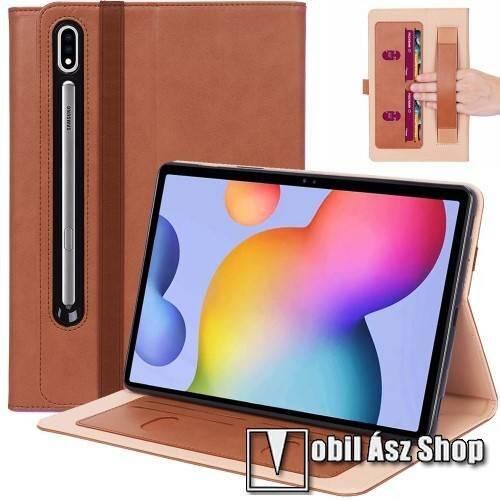 Notesz tok / mappa tok - BARNA - asztali tartó funkciós, oldalra nyíló, bankkártya tartó, csuklópánt, tolltartó kivágás, szilikon belső, gumis záródás - SAMSUNG Galaxy Tab S7 Plus (SM-T970/T976B) / Tab S7 FE (SM-T730) / Tab S7 FE 5G (SM-T736)