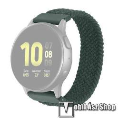 Okosóra szíj - fonott szövet körpánt - ZÖLD - M-es méret, 134mm-230mm-ig nyúlik, sztreccses, 22mm széles - SAMSUNG Galaxy Watch 46mm / Watch GT2 46mm / Watch GT 2e / Galaxy Watch3 45mm / Honor MagicWatch 2 46mm