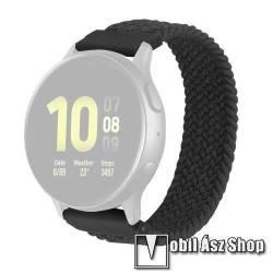 Okosóra szíj - fonott szövet körpánt - SZÜRKE - M-es méret, sztreccses, 20mm széles - SAMSUNG Galaxy Watch 42mm / Amazfit GTS / Galaxy Watch3 41mm / HUAWEI Watch GT 2 42mm / Galaxy Watch Active / Active 2