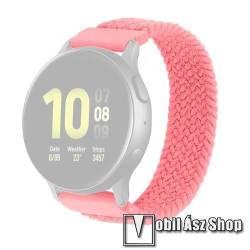 Okosóra szíj - fonott szövet körpánt - RÓZSASZÍN - XL-es méret, sztreccses, 20mm széles - SAMSUNG Galaxy Watch 42mm / Amazfit GTS / Galaxy Watch3 41mm / HUAWEI Watch GT 2 42mm / Galaxy Watch Active / Active 2