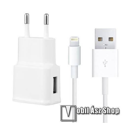 Apple iPhone 6 Plus Hálózati töltő - 5V/2100mAh, 1x USB aljzat, Lightning töltő / adatátviteli kábellel - FEHÉR