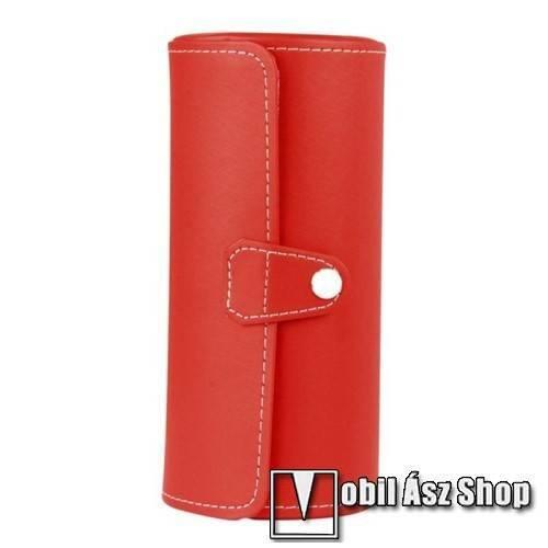 UNIVERZÁLIS Óratartó / tároló doboz - PIROS - PU bőr, 3 óra tárolására alkalmas, patent záródás, méret: 19.5cm x 9cm