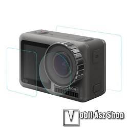 Kameralencse / képernyővédő karcálló edzett üveg - 1 szett / 3db, 0,3 mm vékony, 9H, kijelzők és lencsevédő is! - DJI Osmo Action