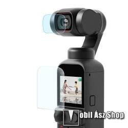 Kameralencse / képernyővédő karcálló edzett üveg - 1 szett / 2db, 0,3 mm vékony, 9H, kijelző és lencsevédő is! - DJI OSMO Pocket 2