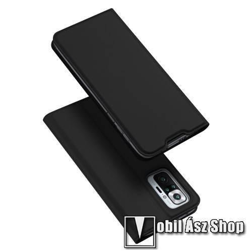 DUX DUCIS Skin Pro Series slim design notesz / mappa tok - FEKETE - asztali tartó funkciós, oldalra nyíló, rejtett mágneses záródás, bankkártyatartó zseb, szilikon belső - Xiaomi Redmi Note 10 Pro / Redmi Note 10 Pro Max - GYÁRI