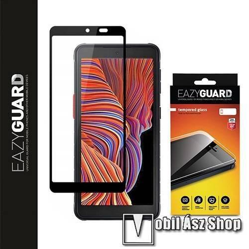 EAZYGUARD előlap védő karcálló edzett üveg - FEKETE - 9H, 2.5D, Arc Edge - A TELJES KIJELZŐT VÉDI! - SAMSUNG Galaxy Xcover 5 (SM-G525F) - GYÁRI