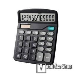 Hordozható asztali számológép - 12 számjegyes, nagy LCD kijelző, csúszásgátló, napelem, 1x AA elemmel működik (NEM TARTOZÉK), 15 x 12cm - FEKETE