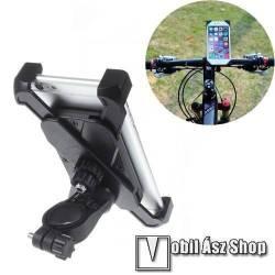 UNIVERZÁLIS biciklis / motoros / kerékpáros tartó konzol mobiltelefon készülékekhez - 360°-ban forgatható, hossz: 115-180mm-ig, szélesség: 58-90mm-ig nyíló bölcsővel, max 12mm-es vastag készülékhez, 22-35mm-es átmérőjű kormányra alkalmas - FEKETE
