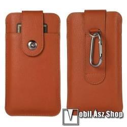 UNIVERZÁLIS álló bőrtok - PU bőr, patent záródás, övre fűzhető, bankkártyatartó zseb, karabiner, belső méret: 188 x 108mm - BARNA