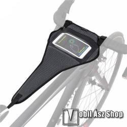 WEST BIKING UNIVERZÁLIS biciklis / kerékpáros tartó konzol mobiltelefon készülékekhez - cseppálló védő tokos kialakítás, cipzár, tépőzáras, kormány és ülés közé rögzíthető, 64 x 24cm - FEKETE