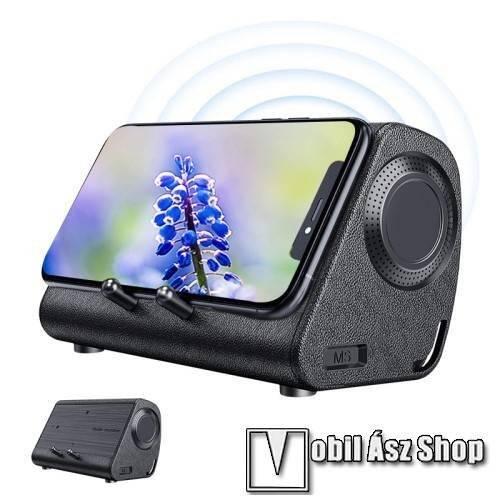 BLUEDIO MS hordozható bluetooth hangszóró / telefon tartó állvány / soundbar - 3W, indukciós nincs szükség Bluetoothra, beépített 650mAh akkumulátor, lejátszási idő kb. 6 óra - BARNA - 234 x 156 x 128mm
