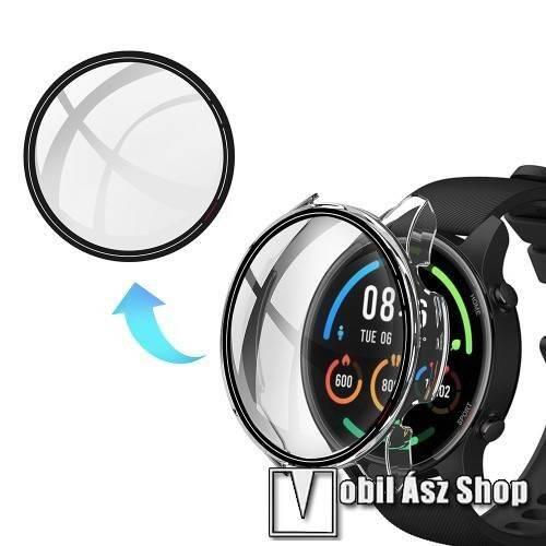 Okosóra műanyag védő tok / keret - ÁTLÁTSZÓ - 9H edzett üveg előlap védő is! - Xiaomi Mi Watch Color Sport