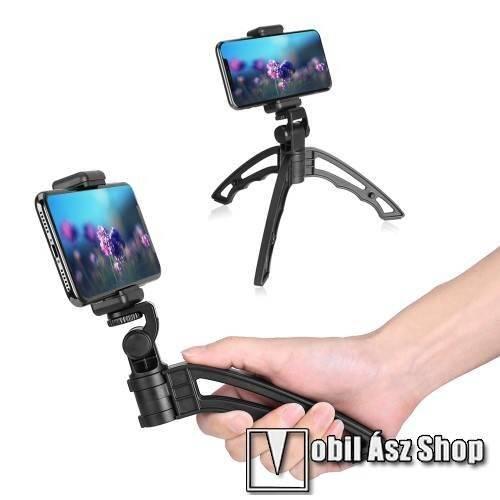 APEXEL APL-JJ04 UNIVERZÁLIS selfie bot és tripod állvány - BLUETOOTH KIOLDÓVAL, 1/4-os rögzítő univerzális csavarral, 180°-ban dönthető, 360°-ban forgatható - FEKETE