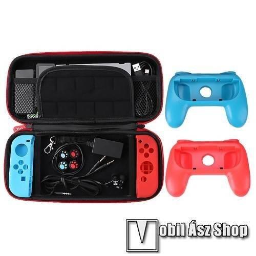 IPEGA 18 az 1-ben Nintendo Switch készlet - 1x védőtok / táska belső puha bélés, belső hálós zseb, Joy-Con szilikon védő tok, kontroller, 1x 3.5mm jack elosztó, 1x headset, 1x képernyővédő fólia, 2x játék tároló - FEKETE - PG-9182 - GYÁRI