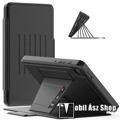 Notesz / mappa tok - asztali tartó funkciós, 2 rétegből áll, műanyag keret, oldalra nyíló, rejtett mágneses záródás, bankkártyatartó zseb, szilikon belső - ERŐS VÉDELEM! - FEKETE - SAMSUNG Galaxy Tab A7 Lite (SM-T220 / SM-T225)