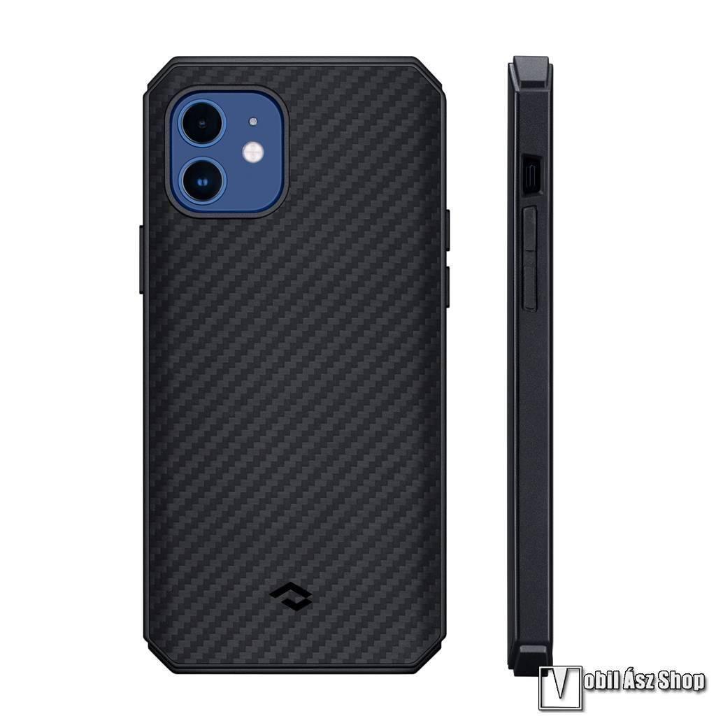 PITAKA MagEZ Pro 2 műanyag védő tok / hátlap - FEKETE - Aramid borítás, szilikon belső, karbon minta, beépített fémlemez autóstartóhoz, MagSafe kompatibilis - APPLE iPhone 12 - KI1201PP - GYÁRI