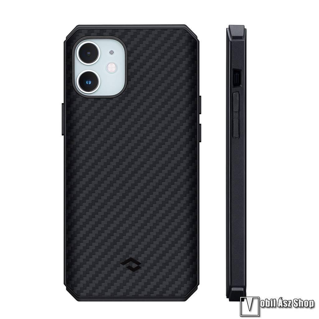 PITAKA MagEZ Pro 2 műanyag védő tok / hátlap - FEKETE - Aramid borítás, szilikon belső, karbon minta, beépített fémlemez autóstartóhoz, MagSafe kompatibilis - APPLE iPhone 12 mini - KI1201MMP - GYÁRI