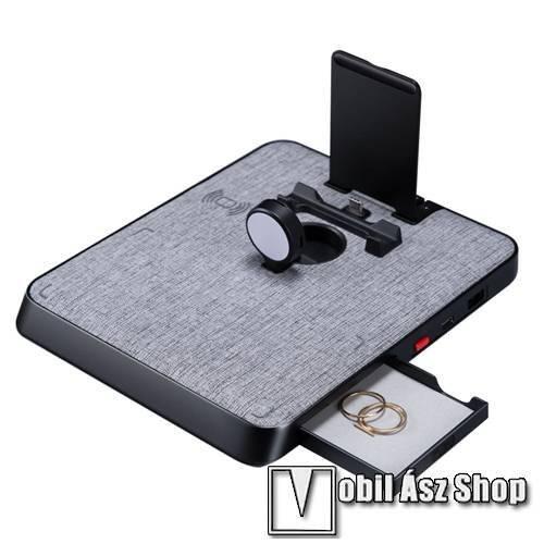 PITAKA Air Omni Lite 6in1 vezeték nélküli töltő állomás - SZÜRKE SZÖVET MINTA - 7.5W/10W QI, 5W QI AirPods, 5W Apple Watch, max. 18W Type-C / USB - AO3002 - GYÁRI