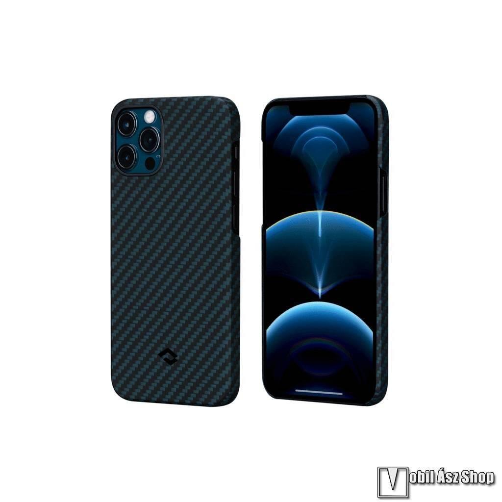 PITAKA műanyag védő tok / hátlap - SÖTÉTKÉK - Aramid, karbon minta, beépített fémlemez autóstartóhoz - APPLE iPhone 12 Pro Max - KI1208PM - GYÁRI