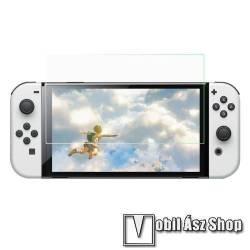 Előlap védő karcálló edzett üveg - 0,3 mm vékony, 9H, Arc Edge, A képernyő sík részét védi - Nintendo Switch OLED
