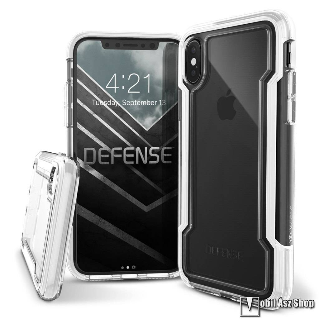 X-Doria Defense Clear műanyag védő tok / hátlap - ÁTLÁTSZÓ / FEHÉR - szilikon betétes - APPLE iPhone X / iPhone XS - GYÁRI