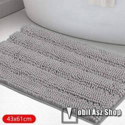Chenille szőnyeg / fürdőszobai kilépő - csúszásgátló, bolyhos, vajpuha, nedvszívó, gépi mosás 30°C-on, kímélő programmal, szárítógépben nem szárítható, nem vasalható, 43x61cm - VILÁGOSSZÜRKE