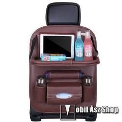 UNIVERZÁLIS Autóülésre rögzíthető több rekeszes tároló / Háttámlavédő  - műbőr, könnyen felrögzíthető, cseppálló, 65 x 50cm - KÁVÉBARNA