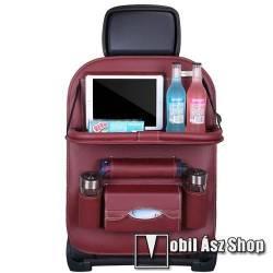 UNIVERZÁLIS Autóülésre rögzíthető több rekeszes tároló / Háttámlavédő  - műbőr, könnyen felrögzíthető, cseppálló, 65 x 50cm - BORDÓ