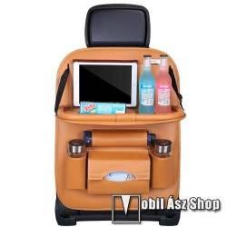 UNIVERZÁLIS Autóülésre rögzíthető több rekeszes tároló / Háttámlavédő  - műbőr, könnyen felrögzíthető, cseppálló, 65 x 50cm - VILÁGOSBARNA