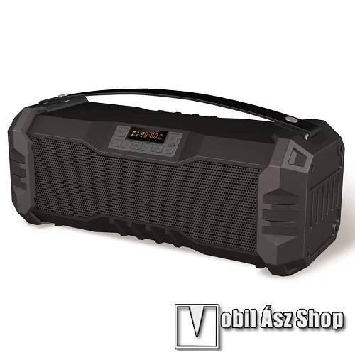 PLATINET hordozható bluetooth hangszóró - v.4.2, 2 x 5,5 W, beépített 2000mAh akku, LCD kijelző, hangszínszabályzó, FM rádió - FEKETE - PMG75B - GYÁRI
