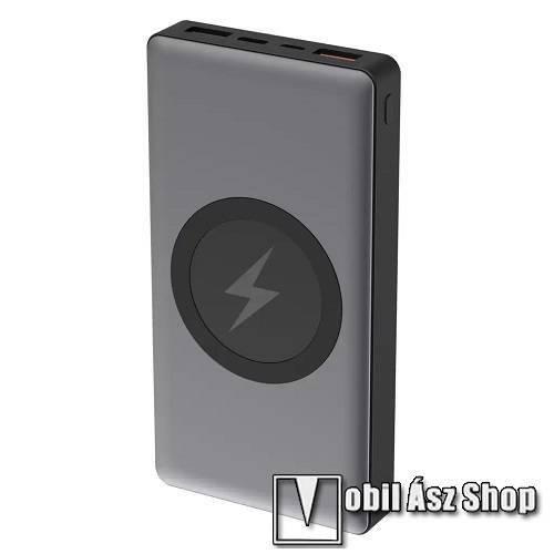 PLATINET PRO hordozható töltő / power bank - QI wireless vezetéknélküli töltő funkció, 10000mAh, max 18W, 2x USB, 1x USB Type-C, Quick Charge 3.0 - PMPB10WCS - SZÜRKE - GYÁRI
