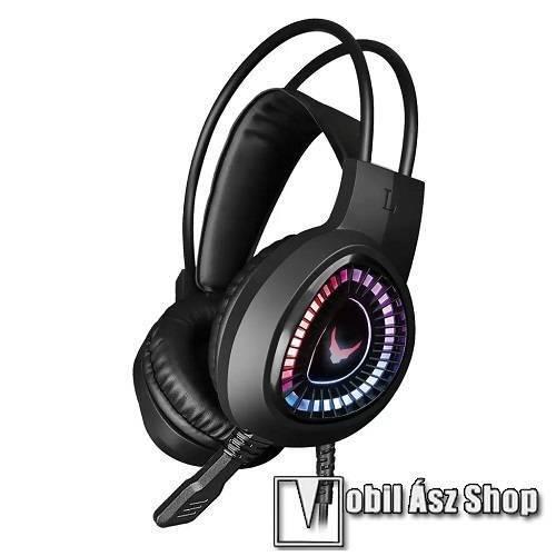 PLATINET VARR Gamer Headset gamer headset / fejhallgató - mikrofon, 3.5mm Jack és USB csatlakozás a világításhoz, 2,1 m hosszú kábel, 40mm átmérőjű hangszóró - FEKETE - VH8010L - GYÁRI