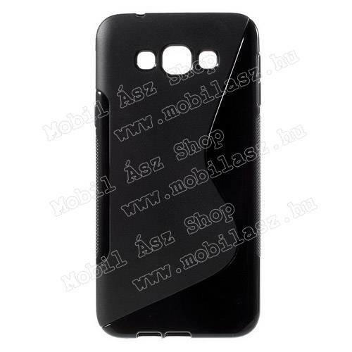 Szilikon védő tok / hátlap - FÉNYES / MATT - FEKETE - SAMSUNG SM-A800F Galaxy A8