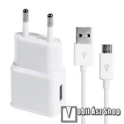 Acer Liquid Gallant Duo Hálózati töltő - 5V/2A, USB aljzat, microUSB 2.0 adatátviteli / töltő kábellel - FEHÉR