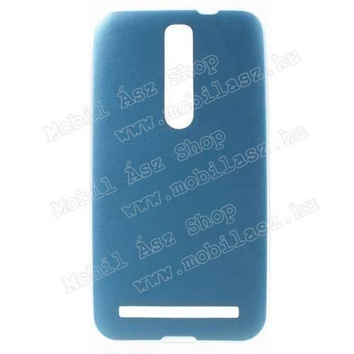 Szilikon védő tok / hátlap - ULTRAVÉKONY!, 0,6mm, bőrhatású! - VILÁGOSKÉK - ASUS Zenfone 2 (ZE550ML / ZE551ML)