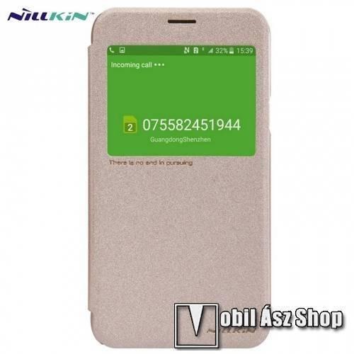 NILLKIN SPARKLE műanyag védő tok / hátlap - oldalra nyíló S-View Cover flip, hívószám kijelzés - ARANY - SAMSUNG SM-J700F Galaxy J7