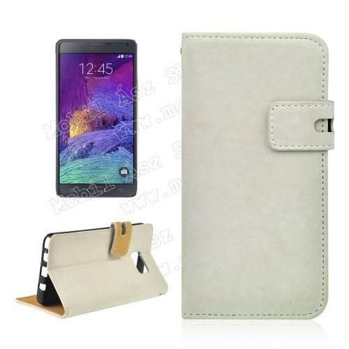 Notesz tok / flip tok - asztali tartó funkciós, oldalra nyíló, rejtett mágneses záródás, bankkártya tartó zsebekkel, szilikon belső - FEHÉR - SAMSUNG SM-N920C Galaxy Note 5.