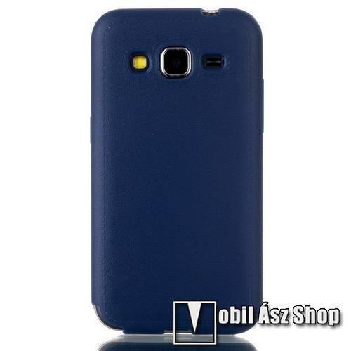 Szilikon védő tok / hátlap - SÖTÉTKÉK- bőrhatású tapintás - SAMSUNG SM-G360F Galaxy Core Prime