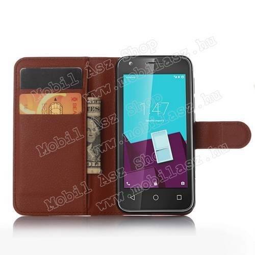 WALLET notesz tok / flip tok - BARNA - asztali tartó funkciós, oldalra nyíló, rejtett mágneses záródás, bankkártyatartó zseb - VODAFONE Smart speed 6