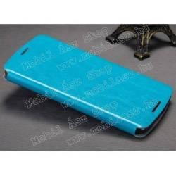 MOFI notesz / mappa tok - VILÁGOSKÉK - bőr hátlap, oldalra nyíló flip cover, asztali tartó funkciós, szilikon belső - Lenovo Vibe X3 - GYÁRI