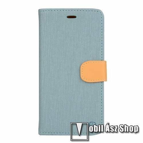 Notesz tok / flip tok - VILÁGOSKÉK - asztali tartó funkciós, oldalra nyíló, rejtett mágneses záródás, bankkártyatartó zseb, szilikon belső - VODAFONE Smart ultra 6