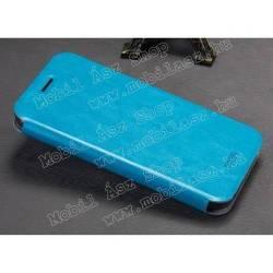 MOFI notesz / flip tok - VILÁGOSKÉK - oldalra nyíló flip cover, asztali tartó funkció, szilikon belső - HUAWEI Enjoy 5s
