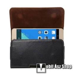 Sony mobile Xperia 10 III Lite (XQ-BT44) Valódi bőr fekvő tok - övre fűzhető, övcsipesz, rejtett mágneses záródás - FEKETE - 162 x 81 x 12mm