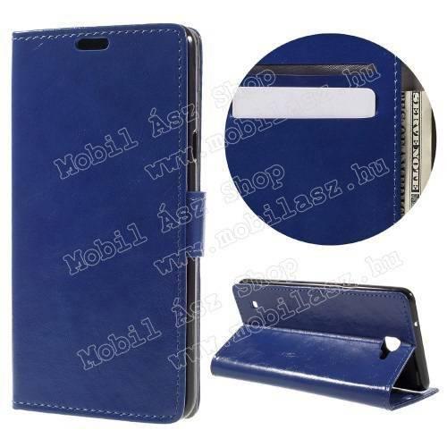 CRAZY notesz tok / flip tok - SÖTÉTKÉK - asztali tartó funkciós, oldalra nyíló, rejtett mágneses záródás, bankkártyatartó zseb, szilikon belső - LG X5